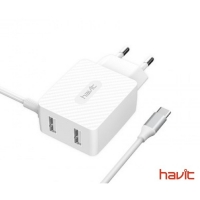 СЗУ HAVIT HV-H142 Dual Travel Charger With Micro Usb cable , white (5V/3,4A)