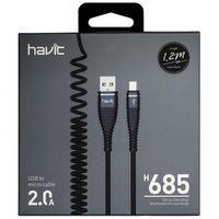 Кабель HAVIT smart phone data cable  HV-H685, Micro USB spring (пружинний) cable, black(100шт/ящ)