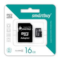 Карта памяти micro-SDHC Smartbuy 16GB+переходник(class10)