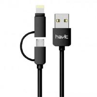 Кабель HAVIT 2в1 smart phone data cable  HV-CB610 X, white, Micro USB + Lighting (iPhone)