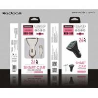 АЗУ REDDAX RDX-108 двойная USB-автомобильная зарядка 2.4A/MICRO(V8) CABLE DIGITAL VOLTAJ DEDECTION