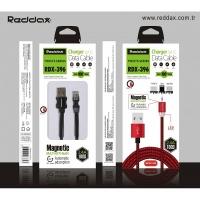 Кабель Reddax RDX-396 3 B 1 тканевой MICRO+IOS+TYPE-C MAGNET -LED МАГНИТНЫЙ