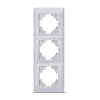 VIDEX BINERA Рамка серебряный шёлк 3 поста вертикальная (VF-BNFR3V-SS) (12/96)