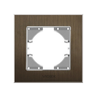 VIDEX BINERA Рамка шоколадный алюминий  одинарная горизонтальная (VF-BNFRA1H-CH) (6/48)