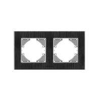 VIDEX BINERA Рамка черный алюминий 2 поста горизонтальная (VF-BNFRA2H-B) (6/48) (24769)