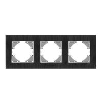 VIDEX BINERA Рамка черный алюминий 3 поста горизонтальная (VF-BNFRA3H-B) (6/104) (24780)