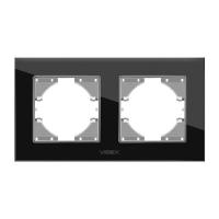 VIDEX BINERA Рамка черное стекло 2 поста горизонтальная (VF-BNFRG2H-B) (6/96)
