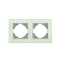 VIDEX BINERA Рамка зеленое стекло 2 поста горизонтальная (VF-BNFRG2H-GR) (12/96)