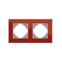 VIDEX BINERA Рамка красное стекло 2 поста горизонтальная (VF-BNFRG2H-RD) (12/96)