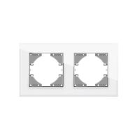 VIDEX BINERA Рамка белое стекло 2 поста горизонтальная (VF-BNFRG2H-W) (12/96)