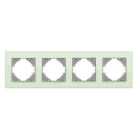 VIDEX BINERA Рамка зеленое стекло 4 поста горизонтальная (VF-BNFRG4H-GR) (12/72)