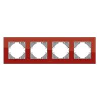 VIDEX BINERA Рамка красное стекло 4 поста горизонтальная (VF-BNFRG4H-RD) (12/72)