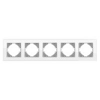 VIDEX BINERA Рамка белое стекло 5 поста горизонтальная (VF-BNFRG5H-W) (6/48)