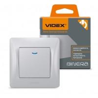 VIDEX BINERA Выключатель 1кл с подсветкой серебряный шёлк (VF-BNSW1L-SS) (20/120) (24913)