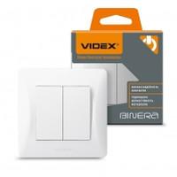 VIDEX BINERA Выключатель белый 2кл (VF-BNSW2-W) (20/120) (24444)