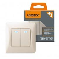 VIDEX BINERA Выключатель кремовый 2кл с подсветкой (VF-BNSW2L-CR) (20/120) (24684)