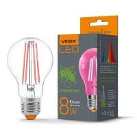 LED лампа VIDEX Filament A60FF 08W E27 1000K 220V (VL-A60FF-08271) (25883) фітолампа