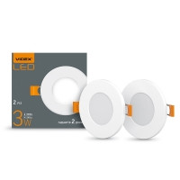LED светильник встраиваемый круглый VIDEX 3W 5000K 220V (2 шт/уп) (24624)