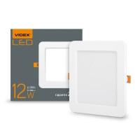 LED светильник встраиваемый квадрат VIDEX 12W 5000K 220V (VL-DLS-125) (24073)