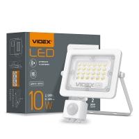 LED прожектор VIDEX 10W 5000K с датчиком движения и освещения  220V (VL-F2e105W-S) (20шт/ящ) (26263)