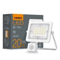 LED прожектор VIDEX 20W 5000K с датчиком движения и освещения  220V (VL-F2e205W-S)  (26264)