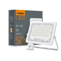 LED прожектор VIDEX 50W 5000K с датчиком движения и освещения  220V (VL-F2e505W-S) (26266)